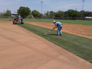 Installing Celebration Bermuda Grass on a sports field.