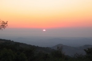 Sun set over the Shire Valley. We see a lot of pretty sun sets like this one here.